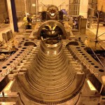 Steam Turbine half shell – internal diaphragm alignment in progress.