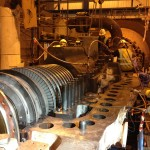 Steam Turbine reassembly – High pressure rotor visible.